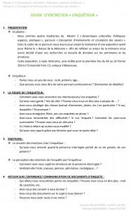 Parcours CECS 2013-2014 _GUIDE D'ENTRETIEN ENQUETEUR