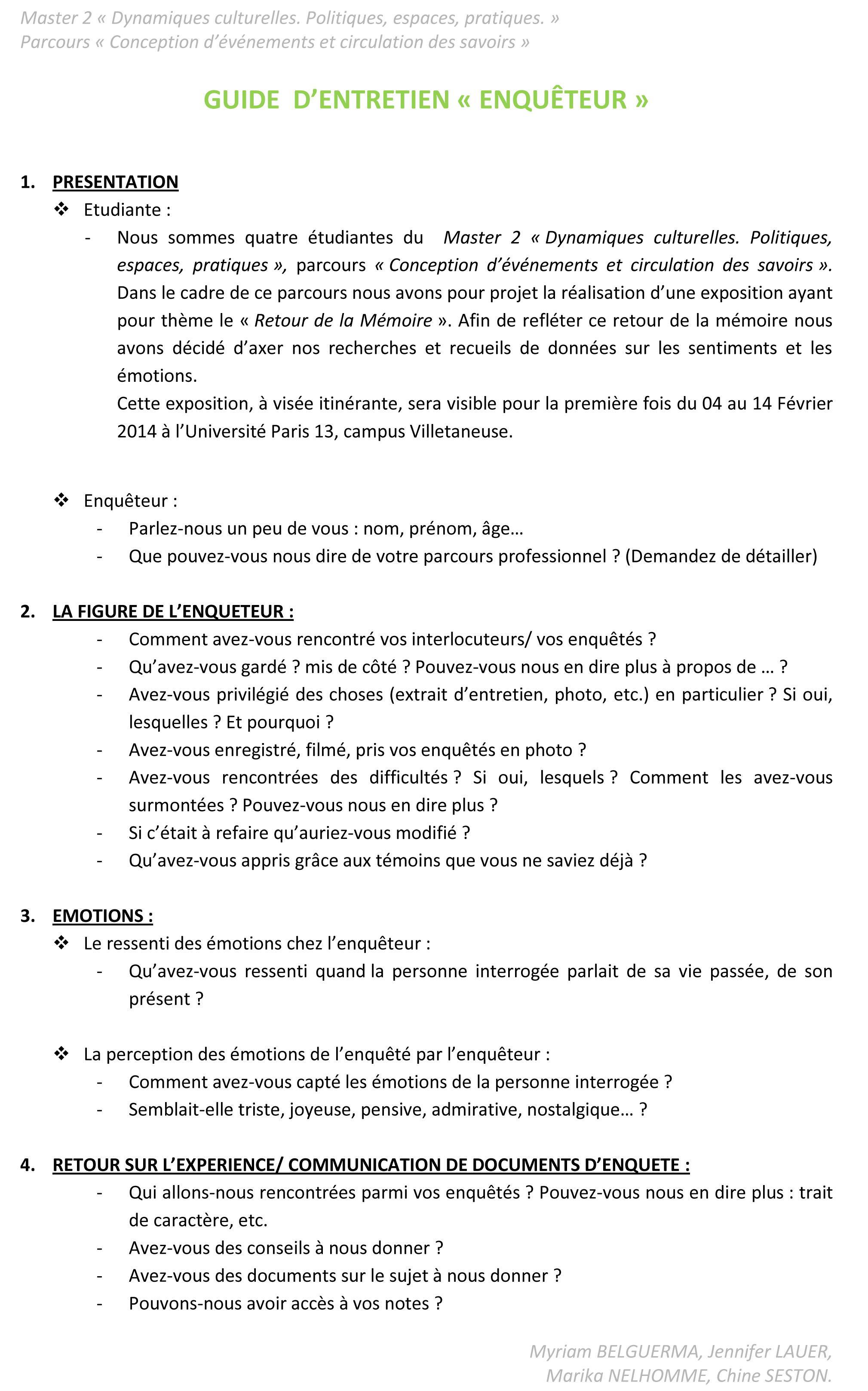 Nos guides d'entretien - Le Bidonville de La Campa